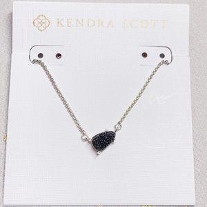 New Kendra Scott Helga Silver Black Drusy Necklace